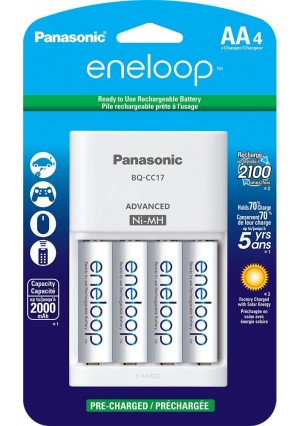 Panasonic Advanced Individual Cell Battery Charger with eneloop AA New 2100 Cycle Rechargeable Batteries, 4 Pack, White