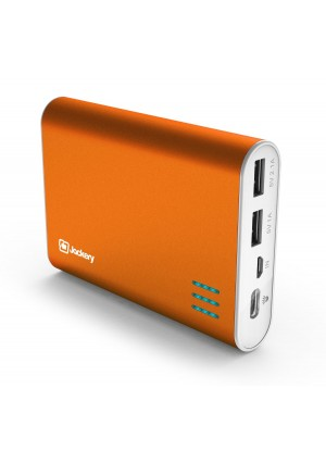 Jackery Giant+ Dual USB Portable Battery Charger and External Battery Pack for iPhone, iPad, Galaxy, and Android Smart Devices - 12,000 mAh (Orange)