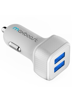 [Smart Port Car Charger] Maxboost 4.4A/22W 2-Port USB Car Charger -[White/Grey] Portable Fast External Battery Pack Charger Compatible to iPhone 6 Pl