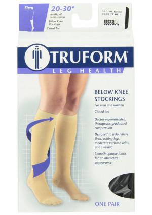 Truform 8865, Compression Stockings, Below Knee, Closed Toe, 20-30 mmhg, Black, Large
