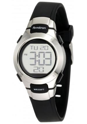 Armitron Sport Women's 457012BLK Chronograph Black Resin Stainless-Steel Accent Strap Watch