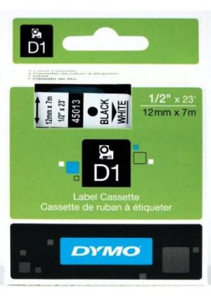 """DYMO Labeling Tape, ½""""  x 23', Black Print on White Tape (45013) D1 Label Cassette, Split Back Easy Peel Adhesive"""