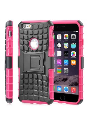 "Fosmon [RUGGED] Apple iPhone 6 Plus (5.5"" ) Case - HYBO-RAGGED Heavy Duty Hybrid Protective Cover with Kickstand (Hot Pink)"
