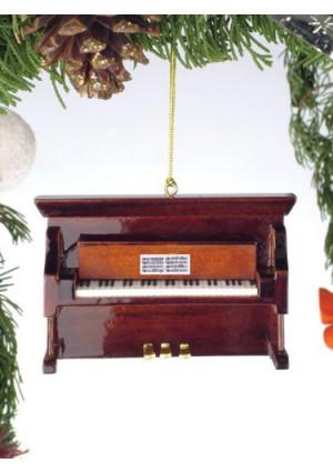 Brown Upright Piano Tree Ornament