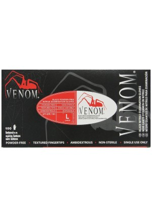 Medline Venom Non-Sterile Powder-Free Latex-Free Nitrile Exam Gloves, Black, Large, 100 Count