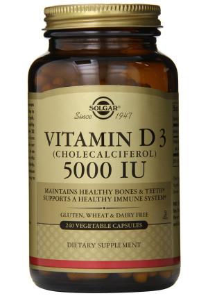 Solgar Vitamin D3 Cholecalciferol 5000 IU Vegetable Capsules, 240 Count