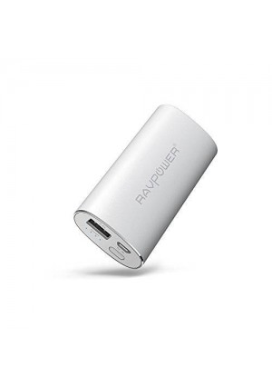 RAVPower Portable Charger 6700mAh (2.4A Output and 2A Input) External Battery Pack iSmart Technology for Smartphones Tablets and more - Silver