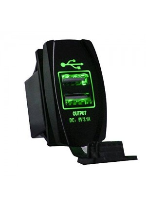 Mictuning Universal Rocker Style Car USB Charger - with Green LED Light Dual USB Power Socket for Rocker Switch Panel