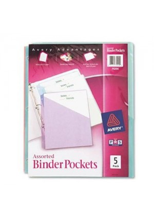 Avery Binder Pockets, Acid Free, Pack of 5 (75254)