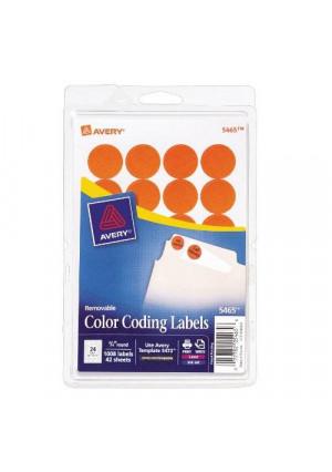 Avery Print/Write Self-Adhesive Removable Labels, 0.75 Inch Diameter, Orange, 1008 per Pack (5465)