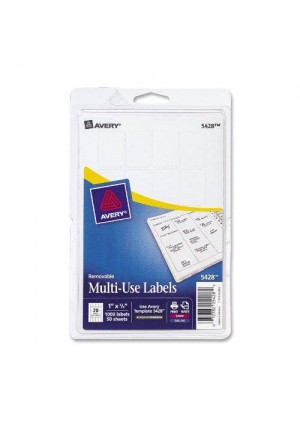 Avery Self-Adhesive Removable Labels, 0.75 x 1 Inches, White, 1000 per Pack (05428)