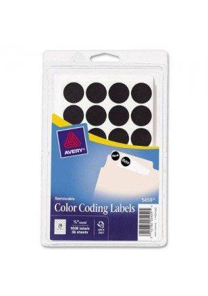 Avery Self-Adhesive Removable Labels, 0.75 Inch Diameter, Black, 1,008 per Pack (05459)
