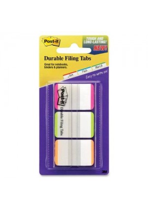 Post-it Tabs with On-the-Go Dispenser, 1-Inch Lined, Pink, Green, and Orange, 22-Tabs/Color, 66-Tabs/Dispenser