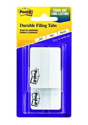 Post-it Tabs with On-the-Go Dispenser, 2-Inch Solid, White, 25-Tabs/Dispenser, 2-Dispensers/Pack