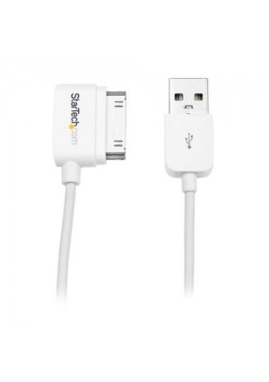 StarTech.com 0.5m (20in) Short Right Angle Apple 30-pin Dock Connector to USB Cable iPhone iPod iPad with Stepped Connector - Charge Sync