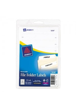 Avery Removable File Folder Labels, Print or Write, White, Pack of 252 (5230)