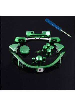 Xbox 360 Chrome Green Full Parts Set (Thumbsticks, D-pad, Buttons, Triggers, Bumpers, Bottom Trim) for your controller (ABXY,Guide,Start, Back)