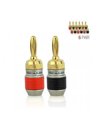 Mediabridge ULTRA Series Fast-Lock Banana Plugs - 6 Pair Per Package - (Part# SPC-BP2-6 )
