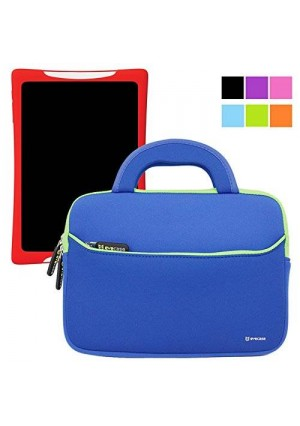 Evecase Slim Handle Carrying Portfolio Neoprene Sleeve Case Bag Compatible with nabi DreamTab HD8 with WiFi 8-inch Touchscreen Tablet PC - Blue