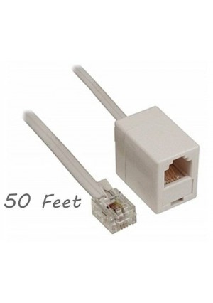 ALAZCO 50 feet Telephone Phone Extension Cord (Male/Female) Cable Line Wire CHOOSE COLOR (WHITE)