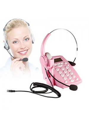 AGPtek Call Center Dialpad Corded Headset Pink Telephone with Tone Dial Key Pad and REDIAL