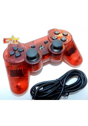 Five Star FiveStar Playstation III Ps3 Game Pad Remote Controller Doubleshock III Wireless Bluetooth (Transparent Red)