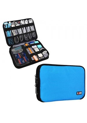 BUBM Double Layer Travel Gear Organizer / Electronics Accessories Bag (Medium, Blue)