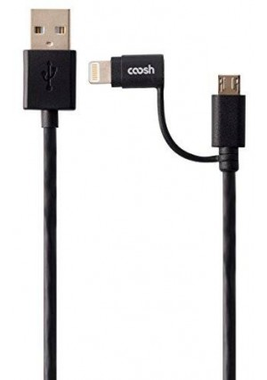 COOSH[Apple MFi Certified] 1m (3.2 ft) Lightning Duo 2-in-1 Sync and Charge Cables with Lightning and micro USB connectors for iPhone 6