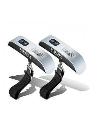 Etekcity Digital Hanging Postal Luggage Scale, Rubber Paint Technology, Temperature Sensor, 110lb/50kg, Silver/Black, 2Pack