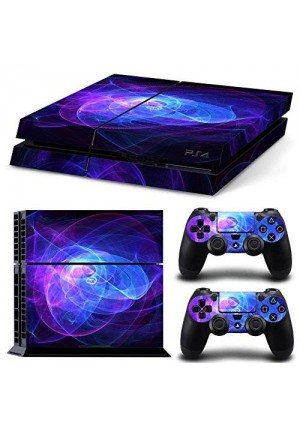 CloudSmart PS4 Designer Skin Decal for PlayStation 4 Console System and PS4 Wireless Dualshock Controller - Blue Purple Lines
