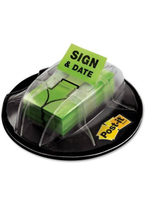 "Post-it Message Flags, ""Sign and Date"", Bright Green, 1-Inch Wide, 200/Desk Grip Dispenser, 1-Dispenser/Pack"