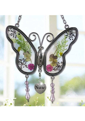 Banberry Designs Nurse Butterfly Suncatcher - Pressed Flower Wings - Gifts for Nurses - Nurse Practitioners - Nurse Gifts - Nurse Graduation Gifts