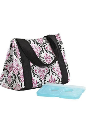 Fit & Fresh Fit and Fresh Venice Insulated Designer Lunch Bag with Ice Pack, Pink and Black Chandelier