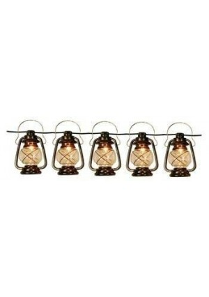 Wilcor Patio String Lights Oil Lantern Style Indoor Outdoor