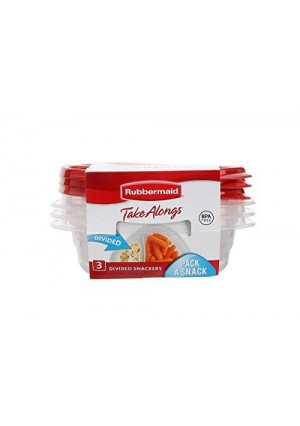 Rubbermaid 1S41 TakeAlongs Food Storage Container, Snack, Red, Divided, Single