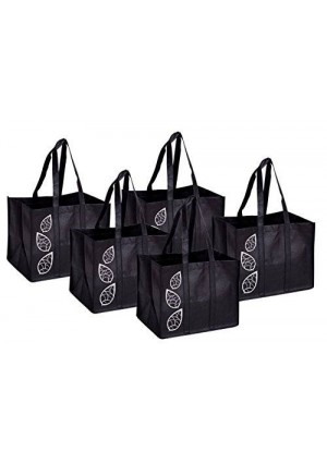 Bekith 5 Piece Large Collapsible Shopping Bags Set,Black Reusable Grocery Tote Bag