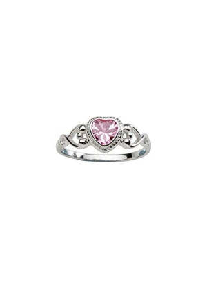 Precious Pieces Sterling Silver Baby Ring and October Birthstone Ring with Pink CZ