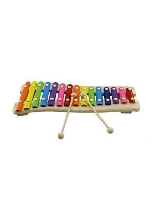 Rolimate Wooden 15 Key Chromatic Glockenspiel Xylophone - Notes Engraved Into Metal Keys