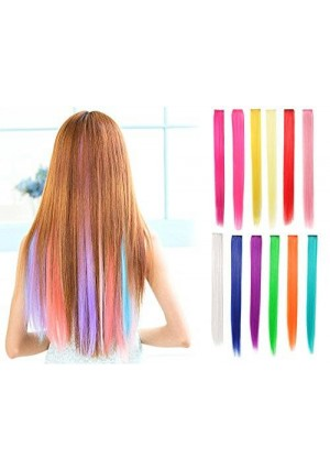 """OneDor 23"""" Straight Colored Party Highlight Clip on in Hair Extensions 12 Multiple Colors (Full Color Set 12 Pcs)"""