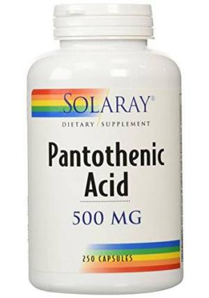 Solaray Pantothenic Acid Capsules, 500 mg, 250 Count