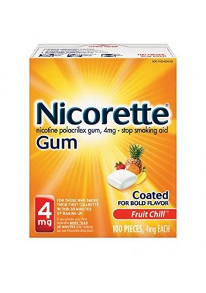 Nicorette Nicotine Gum Fruit Chill 4 milligram Stop Smoking Aid 100 count