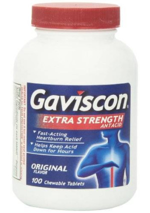 Gaviscon Extra Strength Chewable Antacid Tablets, Original Flavor, 100-Count Bottles (Pack of 2)