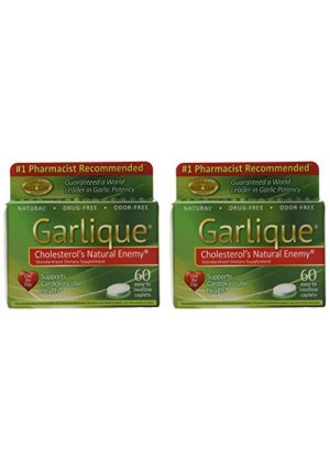 Garlique Dietary Supplement Caplets, 60-Count Packages (Pack of 2)