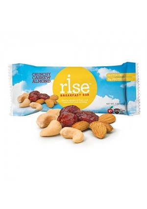 25 us 1 Rise Bar Non-GMO, Gluten-Free Breakfast Bars, Crunchy Cashew Almond, 12-Count
