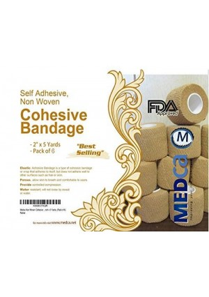 """MEDca Non Woven Cohesive Wrap Self Adherent Bandages 2""""x5 Yards Pack of 6 """"Best Selling"""""""
