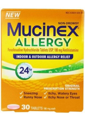 Mucinex Allergy 24 Hour Indoor and Outdoor Allergy Relief Tablets, 180 mg Fexofenadine, 30 Count