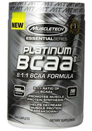 MuscleTech Platinum BCAA Diet Supplement Pill, 200 Count