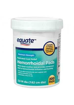 Hemorrhoidal Pads, Medicated Cool Relief, Witch Hazel, 200ct, By Equate, Compare to Tucks Medicated Pads