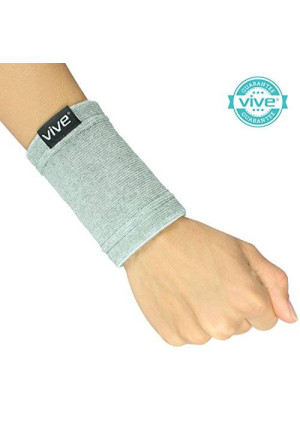 Bamboo Wrist Support by Vive - Antimicrobial Wristband / Sweatband - Best Compression Wrist Wrap for Arthritis