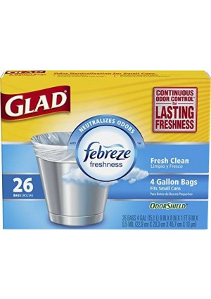 Glad OdorShield Small Trash Bags, Fresh Clean, 4 Gallon, 26 Count (Pack of 6)